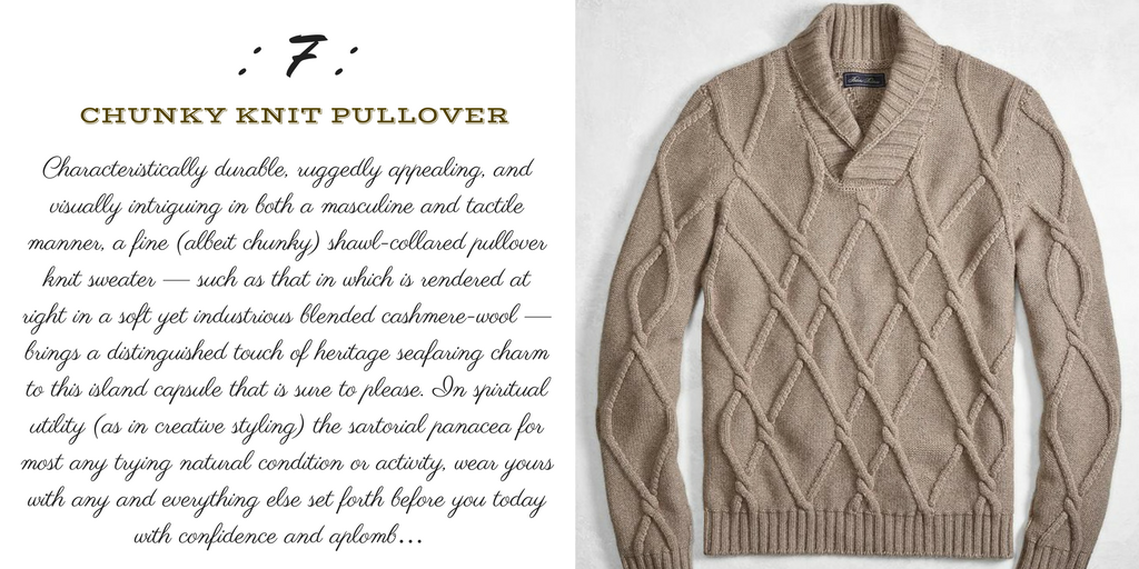 Desert Island Essentials #7: Cashmere Shawl-Collared Sweater (Brooks Brothers)