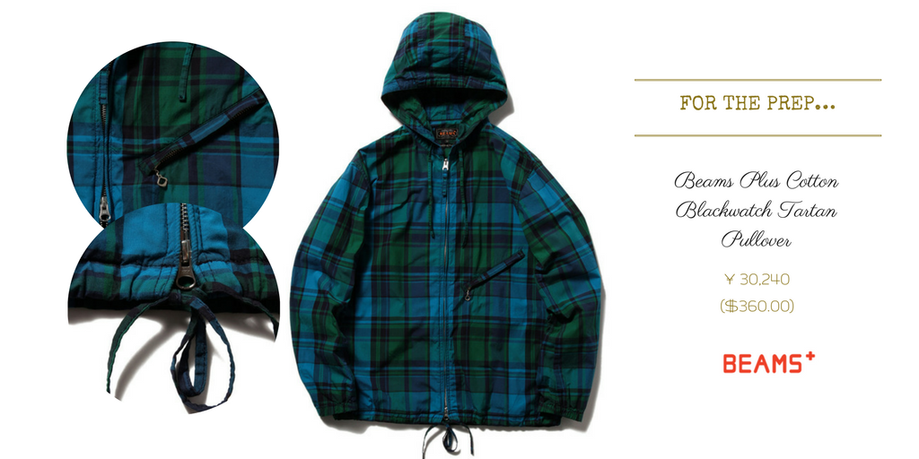 beams-plus-blackwatch-tartan-pullover-coat-hoodie